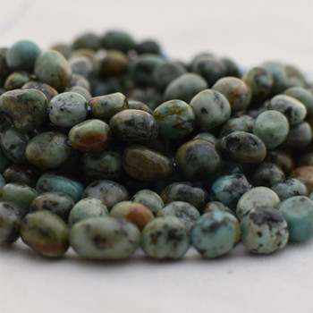 """High Quality Grade A Natural African Turquoise Semi-precious Gemstone Pebble Tumbledstone Nugget Beads - approx 7mm - 10mm - 15"""" long strand"""