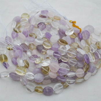 "High Quality Grade A Natural Amethyst and Citrine Semi-precious Gemstone Pebble Tumbledstone Nugget Beads - approx 7mm - 10mm - 15"" long strand"