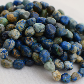 """High Quality Grade A Natural Azurite Semi-precious Gemstone Pebble Tumbledstone Nugget Beads - approx 7mm - 10mm - 15"""" long strand"""