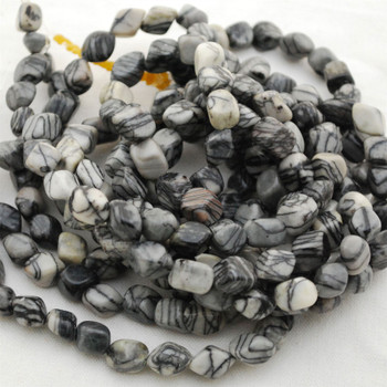 "High Quality Grade A Natural Black Veined Jasper Semi-precious Gemstone Pebble Tumbledstone Nugget Beads - approx 7mm - 10mm - 15"" long strand"