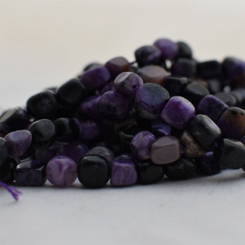 """High Quality Grade A Natural Charoite Semi-precious Gemstone Pebble Tumbledstone Nugget Beads - approx 7mm - 10mm - 15"""" long strand"""
