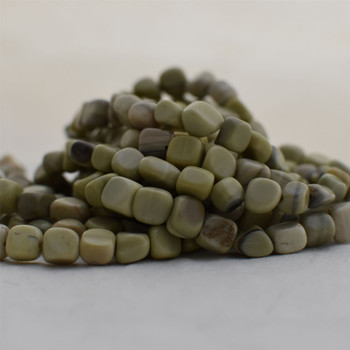 """High Quality Grade A Natural Butter Jade Semi-precious Gemstone Pebble Tumbledstone Nugget Beads - approx 7mm - 10mm - 15"""" long strand"""
