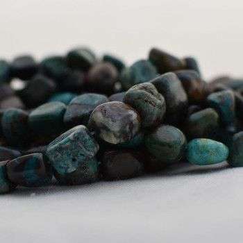 "High Quality Grade A Natural Chrysocolla Semi-precious Gemstone Pebble Tumbledstone Nugget Beads - approx 9mm - 12mm - 15"" long strand"