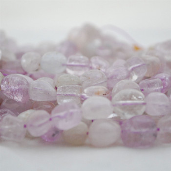 """High Quality Grade A Natural Clear Kunzite Semi-precious Gemstone Pebble Tumbledstone Nugget Beads - approx 7mm - 10mm - 15"""" long strand"""