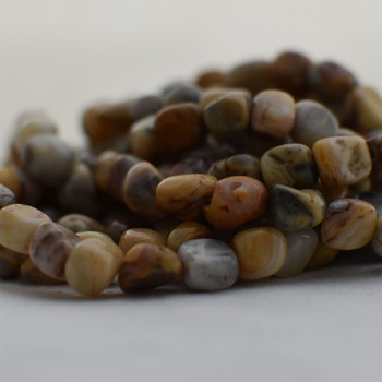"""High Quality Grade A Natural Crazy Lace Agate Semi-precious Gemstone Pebble Tumbledstone Nugget Beads - approx 7mm - 10mm - 15"""" long strand"""