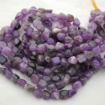 "High Quality Grade A Natural Dark Purple Mauve Jade Semi-precious Gemstone Pebble Tumbledstone Nugget Beads - approx 7mm - 10mm - 15"" long strand"