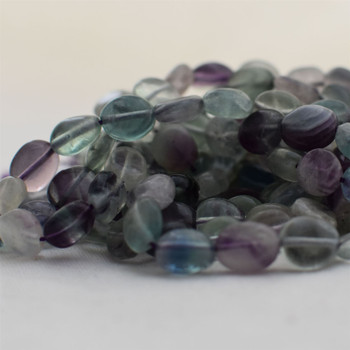"High Quality Grade A Natural Fluorite Semi-precious Gemstone Pebble Tumbledstone Nugget Beads - approx 7mm - 10mm - 15"" long strand"