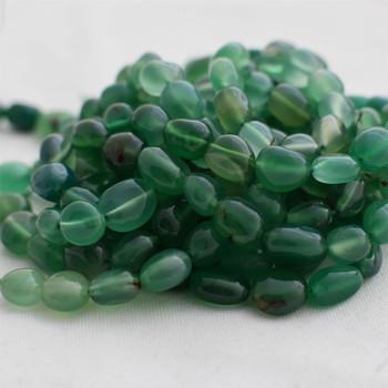 "High Quality Grade A Green Agate Semi-precious Gemstone Pebble Tumbledstone Nugget Beads - approx 7mm - 10mm - 15"" long strand"