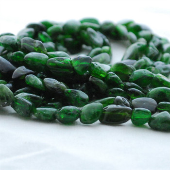 """High Quality Grade A Natural Green Chrome Diopside Semi-precious Gemstone Pebble Tumbledstone Nugget Beads - approx 7mm - 10mm - 15"""" long strand"""