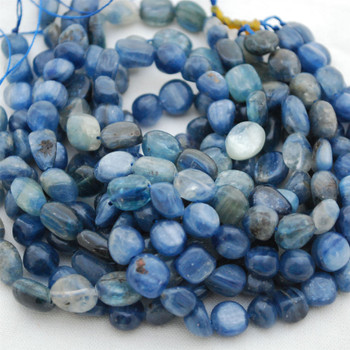 "High Quality Grade A Natural Kyanite Semi-precious Gemstone Pebble Tumbledstone Nugget Beads - approx 7mm - 10mm - 15"" long strand"