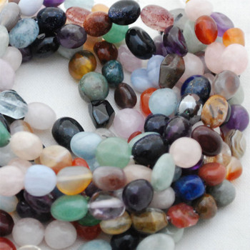 "High Quality Grade A Natural Mixed Gemstone and Quartz Semi-precious Gemstone Pebble Tumbledstone Nugget Beads - approx 7mm - 10mm - 15"" long strand"