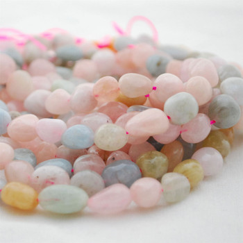 "High Quality Grade A Natural Morganite Semi-precious Gemstone Pebble Tumbledstone Nugget Beads - approx 7mm - 10mm - 15"" long strand"