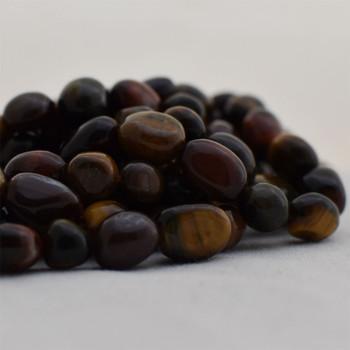 "High Quality Grade A Multi-colour Tiger Eye Semi-precious Gemstone Pebble Tumbledstone Nugget Beads - approx 7mm - 10mm - 15"" long strand"