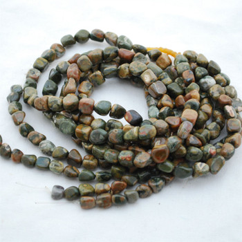 "High Quality Grade A Natural Rhyolite Semi-precious Gemstone Pebble Tumbledstone Nugget Beads - approx 7mm - 10mm - 15"" long strand"