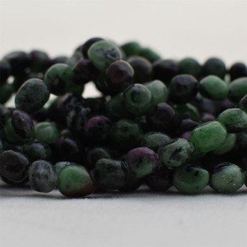 """High Quality Grade A Natural Ruby Zoisite Semi-precious Gemstone Pebble Tumbledstone Nugget Beads - approx 7mm - 10mm - 15"""" long strand"""