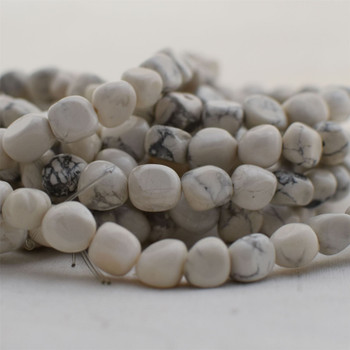 """High Quality Grade A Natural White Howlite Semi-precious Gemstone Pebble Tumbledstone Nugget Beads - approx 7mm - 10mm - 15"""" long strand"""