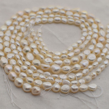 """High Quality Grade A Natural Freshwater Baroque Pearl Pebble Nugget Beads - White - 14"""" long"""