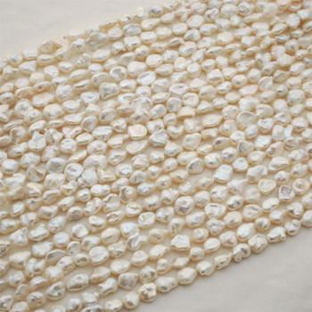 "High Quality Grade A Natural White Freshwater Baroque Nugget Keshi Pearl Beads - Iridescent Rainbow Hue - Irregular Shapes - 15"" long"