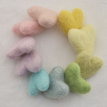 100% Wool Felt Hearts - 10 Count - approx 3cm - Light Pastel Rainbow Colours