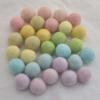 100% Wool Felt Balls - 30 Count - 2cm - Light Pastel Rainbow