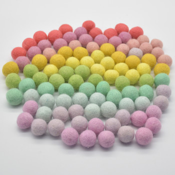 100% Wool Felt Balls - 100 Count - 2cm - Bright & Pastel Rainbow Colours - New Batch