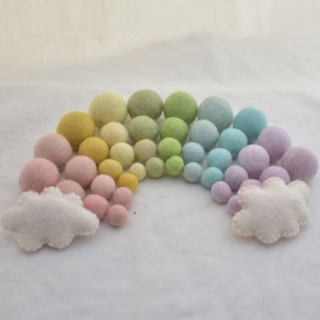100% Wool Felt Balls and Clouds - 40 Light Pastel Rainbow Felt Balls in 4 sizes and 2 Ivory White Clouds