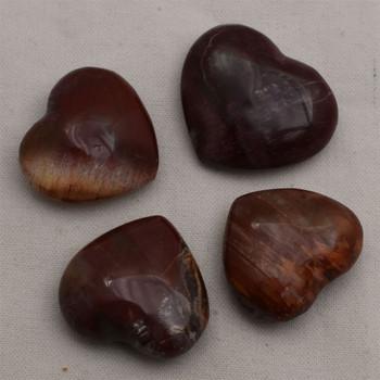 High Quality Natural Petrified Wood Agate Semi-precious Gemstone Heart - 1 Gemstone Heart - approx 3.5cm