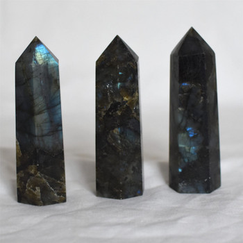 Natural Labradorite Semi-precious Gemstone Point / Tower / Wand  - 1 Count - approx 10cm