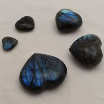 High Quality Natural Labradorite Semi-precious Gemstone Heart - 1 Gemstone Heart - 2.5cm, 3cm, 4cm - 5cm, 5.5cm, 6cm sizes