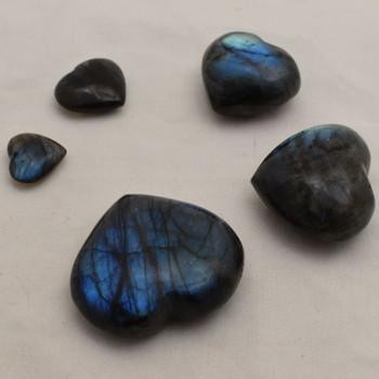 High Quality Natural Labradorite Semi-precious Gemstone Heart - 1 Gemstone Heart - 2.5cm, 3cm, 4cm - 5cm, 5.5cm, 6cm sizes