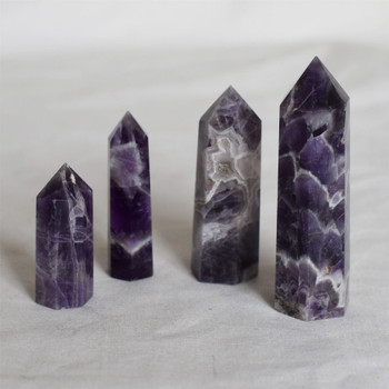 Natural Banded Amethyst Semi-precious Gemstone Point / Tower / Wand  - 1 Count - Various sizes