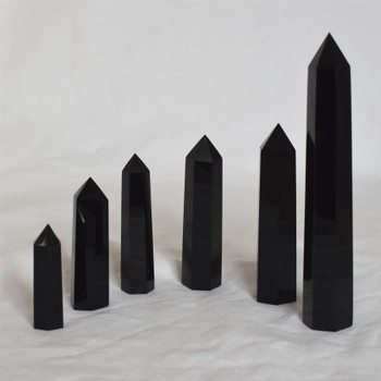 Natural Black Obsidian Semi-precious Gemstone Point / Tower / Wand  - 1 Count - Various sizes
