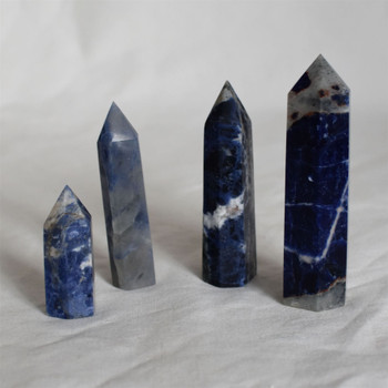 Natural Sodalite Semi-precious Gemstone Point / Tower / Wand  - 1 Count - Various sizes