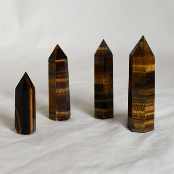 Natural Tiger Eye Semi-precious Gemstone Point / Tower / Wand  - 1 Count - Various sizes