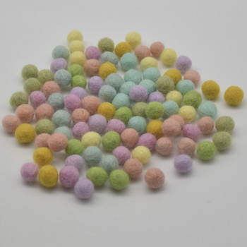 100% Wool Felt Balls - 100 Count - Pastel Rainbow Colours - 1cm