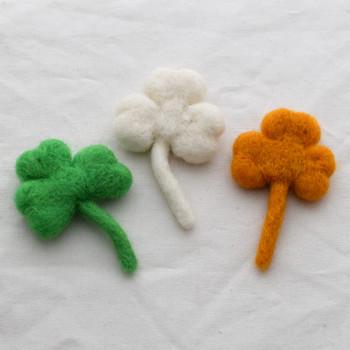 100% Wool Felt Shamrock Clover Leaf - 8.5cm - 3 Count - Irish Flag