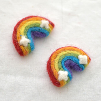 100% Wool Felt Rainbow with Clouds - 2 Count - 4.5cm - Bright Colours