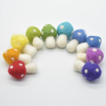 100% Wool Felt Mushrooms Toadstools - 10 Count - 4.5cm - Rainbow Colours