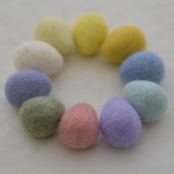 100% Wool Felt Raindrops / Teardrops / Eggs - 10 Count - Easter Pastel Colours