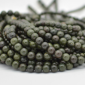 "High Quality Grade A Natural African Green Jasper Semi-precious Gemstone Round Beads - 6mm, 8mm, 10mm sizes - 15.5"" strand"