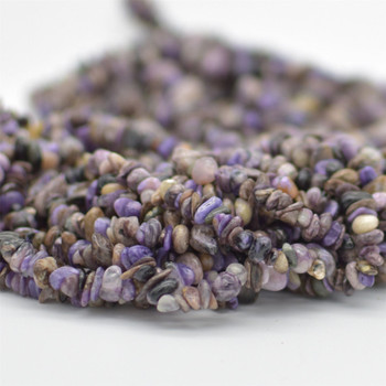 """High Quality Grade A Natural Charoite Semi-precious Gemstone Chips Nuggets Beads - 5mm - 8mm, approx 36"""" Strand"""