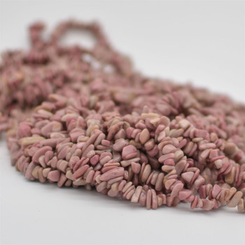 """High Quality Grade A Natural Chinese Rhodonite Semi-precious Gemstone Chips Nuggets Beads - 5mm - 8mm, approx 36"""" Strand"""