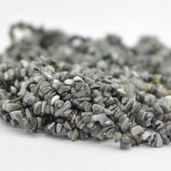 "High Quality Grade A Natural Hawk Eye Semi-precious Gemstone Chips Nuggets Beads - 5mm - 8mm, approx 36"" Strand"