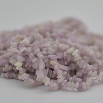 """High Quality Grade A Natural Kunzite Semi-precious Gemstone Chips Nuggets Beads - 5mm - 8mm, approx 36"""" Strand"""