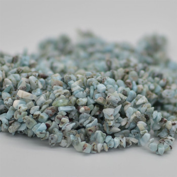 """High Quality Grade A Natural Larimar Semi-precious Gemstone Chips Nuggets Beads - 5mm - 8mm, approx 36"""" Strand"""