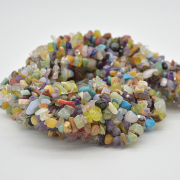 """High Quality Grade A Natural Mixed Stones Semi-precious Gemstone Chips Nuggets Beads - 5mm - 8mm, approx 36"""" Strand"""