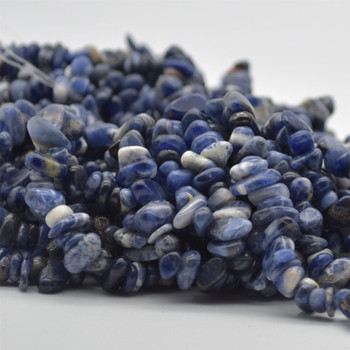 """High Quality Grade A Natural Sodalite Semi-precious Gemstone Chips Nuggets Beads - 5mm - 8mm, approx 36"""" Strand"""