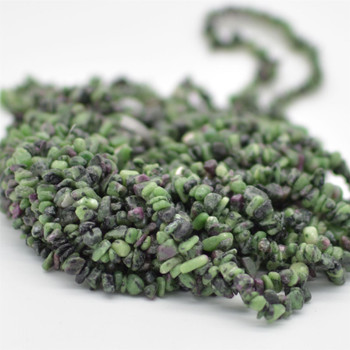 """High Quality Grade A Natural Ruby Zoisite Semi-precious Gemstone Chips Nuggets Beads - 5mm - 8mm, approx 36"""" Strand"""