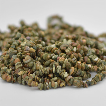 "High Quality Grade A Natural Rhyolite Semi-precious Gemstone Chips Nuggets Beads - 5mm - 8mm, approx 36"" Strand"