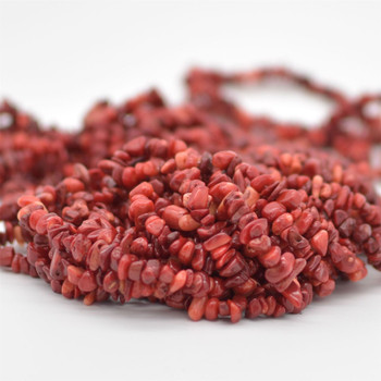 "High Quality Red Coral (dyed from natural white coral)  Semi-precious Gemstone Chips Nuggets Beads - 5mm - 8mm, approx 36"" Strand"